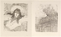 portraits d'acteurs et d'actrices (7 works) by henri de toulouse-lautrec