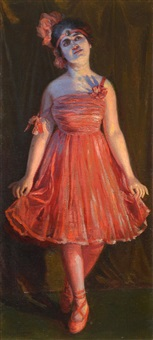 bailarina con vestido rojo by v. p. casorati