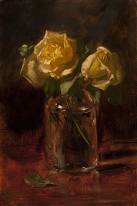 still life of flowers in a glass vase by solomon garf