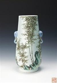 粉彩竹石题诗双象耳瓶 by xu zhongnan