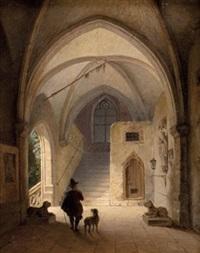 adeliger in gotischer schlosshalle by georg pezolt