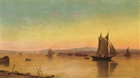 view of the catskills from the hudson by john williamson