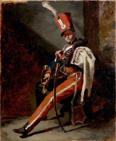 étude préparatoire pour le trompette de hussards dorléans en grande tenue preparatory study by théodore géricault