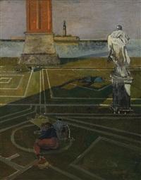 dormenas, statue et campanile by eugene berman