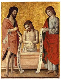 christ the man of sorrows with saint john the baptist and saint john the evangelist by antonio della corna