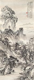 虚阁延江图 立轴 纸本 by ma dai