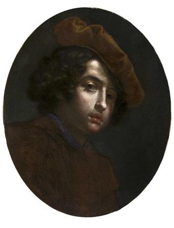 ritratto di giovane con berretto a tagliere by cesare dandini