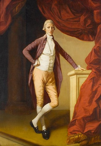 portrait of a young man full-length, in a crimson coat and a white waistcoat, leaning on a stone plinth by johann joseph zoffany