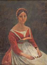 junge frau (after corot) by johann victor kramer