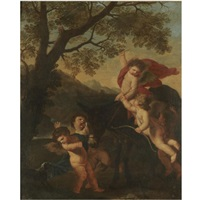 putti riding a donkey in a landscape by karel philips spierincks