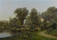 country cottage by a pond by henry pember smith