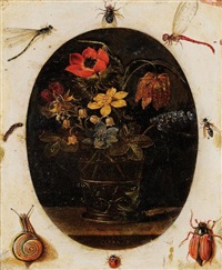 bouquet de fleurs dans un vase entouré d'insectes by clara peeters