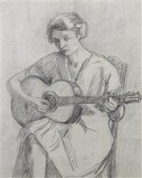 femme à la guitare by henri lebasque