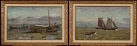 marine & chalutiers sur la plage (2 works) by frans van damme