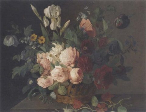 roses narcissi irises tulips and other flowers in a basket on a stone ledge by arnoldus bloemers