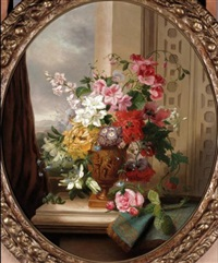 still life with roses, sweet peas, passion flowers, azaleas and oriental poppies by john wainwright