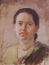 portrait of a maharastrian lady by gajanan sawlaram haldankar