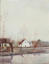 autumn day at a pond in a village by laurits andersen ring