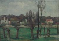 les saules en bordure du village by eugene louis corneau