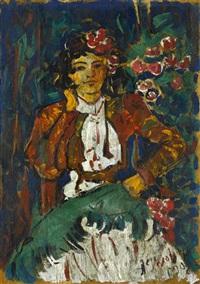 andalusian woman in feria attire by aleksandr yakovlevich golovin