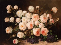 still life with roses in a basket by pieter ten cate