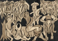 men on cows, other men with agricultural tools by ida made peguh