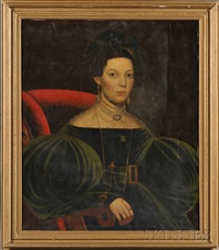 portrait of a lady wearing a green dress with jewelry by john samuel blunt