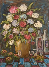 still life - fruit, flowers and wine by gladys maccabe