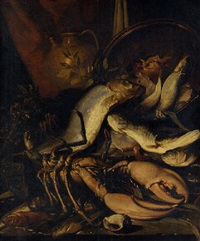 a lobster, cod and other fish with a copper urn and a jug on a stone ledge with a seashell by elena recco