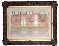elevation of the south side of the library, snelston hall, the seat of john harrison, derbyshire by lewis nockalls cottingham