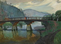 landscape with bridge by ludwig leszko