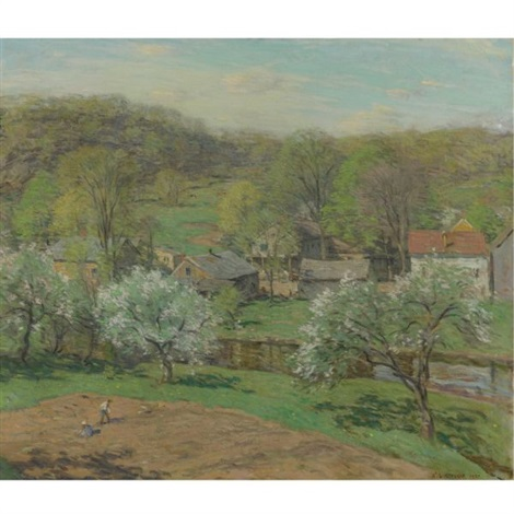 the village in late spring by willard leroy metcalf