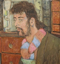 portrait of a man with striped scarf by peter samuelson