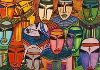 a group of tribal figures by charles sekano