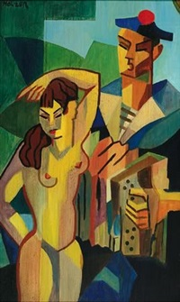 nude and musician by j.a. holzer