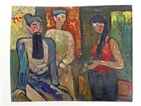 trois personnages sur une scène de théâtre by bui xuan phai