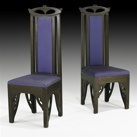 tall back chairs pair by charles rohlfs