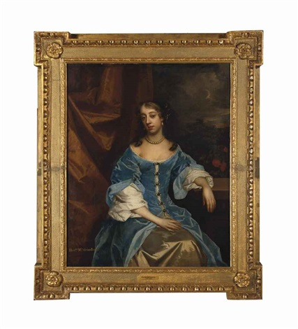 portrait of the hon mrs grimston afterwards lady elizabeth grimston in a blue dress resting her left arm on a pedestal by sir peter lely