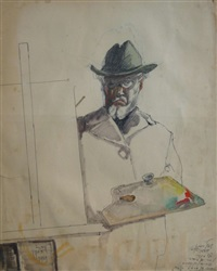the painter with the palette, 1959 by saul raskin
