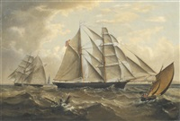the brigantine favorite in two views off a coast by j. graham kaye