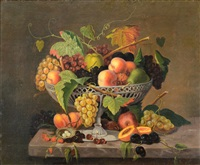 still life with fruit and a bird's nest by severin roesen