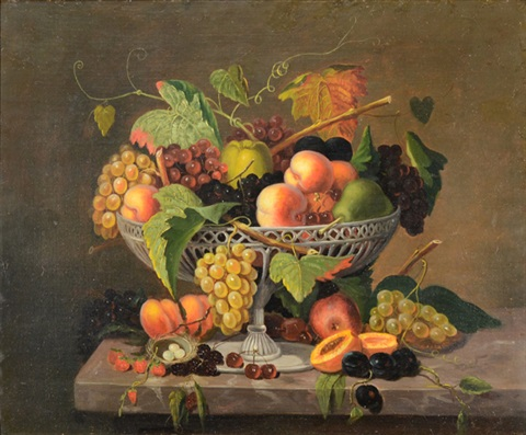 still life with fruit and a birds nest by severin roesen