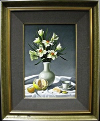 still life (daffodils, grapefruit and tea) by paul andre