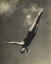 a presentation folio with a sequence of 10 photographs relating to the olympic diver marjorie gestring at the berlin olympics. includes elegant images of gestring in the air mid-dive, as well as the young gold medalist before and after her successful dives by leni riefenstahl