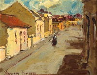 street scene with figure walking by adriaan hendrik boshoff