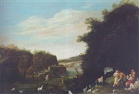 a landscape with nymphs and satyrs revelling by a stream by daniel cletcher