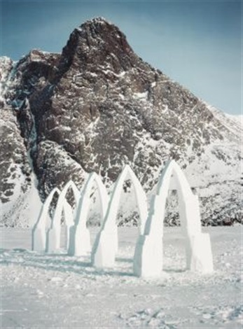 five arches. bent over by the wind. grise fjord, ellesmere island (2 works) by andy goldsworthy