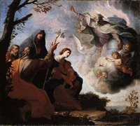 god the father appearing before the holy family with saint anne and saint joachim by michele ragoglia