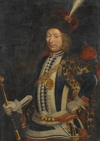 portrait of a nobleman, three-quarter-length, in blue and white costume with a fur wrap, a plumed hat and a medallion depicting king louis xiv, and holding a marshall's baton by stanislas leszczynski