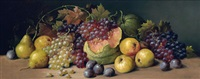still life with watermelon, grapes, pears and plums by joseph decker